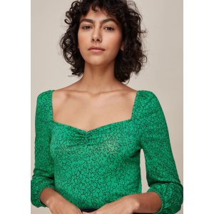 Green/Multi Sketched Floral Sweetheart Top | WHISTLES | Whistles