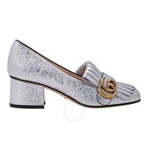 银色GG粗跟鞋