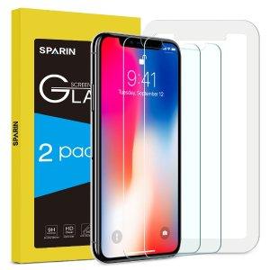 $6.5 (原价$10)限今天:Sparin iPhone X 屏幕保护钢化膜 2片装
