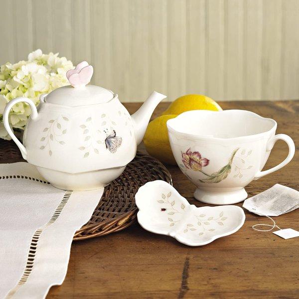 蝶舞花香陶瓷茶壶+茶杯+托盘套装