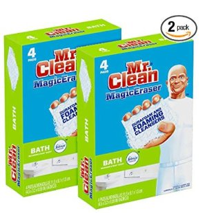 Mr. Clean Magic Eraser Bath, Cleaning Pads with Durafoam, Meadows & Rain, 8 Count