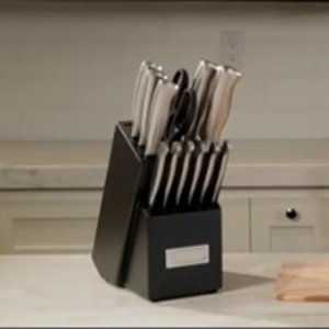 $81.27 (原价$162.99)Cuisinart 不锈钢厨房刀具15件套  厨房这一套足够