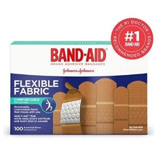 $5.17 家庭小药箱必备白菜价:Band-Aid 弹力透气创口贴 100个装 不同尺寸