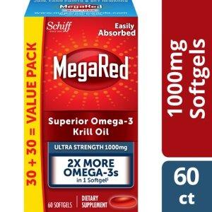 MegaRed Omega-3 Krill Oil Ultra Strength Softgels, 1000 mg, 60 ct - Walmart.com