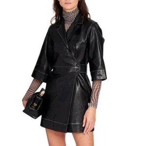 Ganni5折!100%小羊皮黑色连衣小皮裙