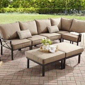 349 Mainstays Sandhill 7 Piece Outdoor Sofa Sectional Set Seats 5