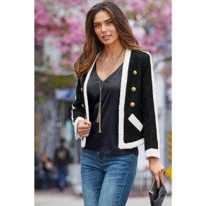 Tweed Color-Block Jacket