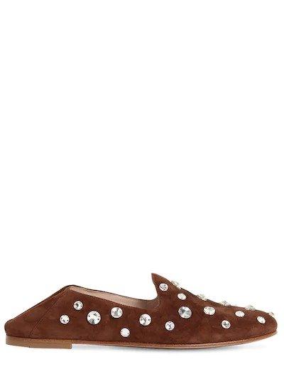 水钻麂皮乐福鞋