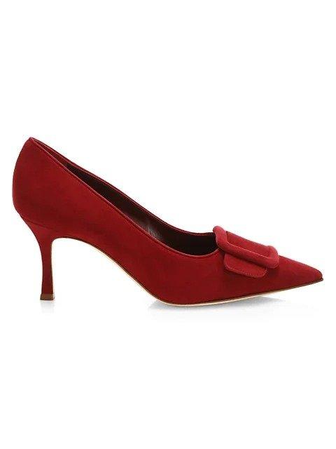 Maysale 麂皮方扣高跟鞋