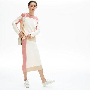 Lacoste拼色针织半身裙