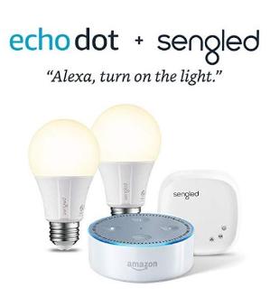 闪购 $59.99包邮(原价$119.98)Echo Dot 语音助手蓝牙音箱 2代 + Sengled Element白光智能灯泡X2套装
