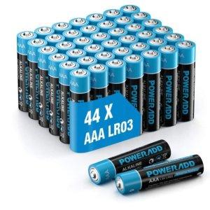 限时6折 仅€0.19/个AAA碱性电池 1.5V 使用寿命长达10年 44个装仅€8.39 家用必囤