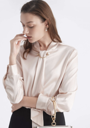 Feminine Stand Collar Blouse With Golden-tone Pearl-D Ring Cuffs