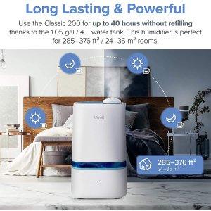 $59.49(原价$69.99)LEVOIT 加湿器/空气净化器 4升 防粉尘过敏 亚马逊5星好评