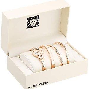 $54.99 (原价$175) 3件套$49.99史低价:Anne Klein 施华洛世奇水晶玫瑰金腕表套装热卖