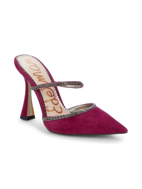 钻饰麂皮穆勒鞋