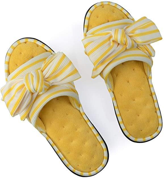 条纹蝴蝶结拖鞋