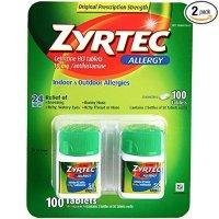 Zyrtec 抗过敏药 10mg 共100颗