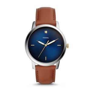 FossilThe Minimalist Carbon Series Three-Hand Luggage Leather Watch