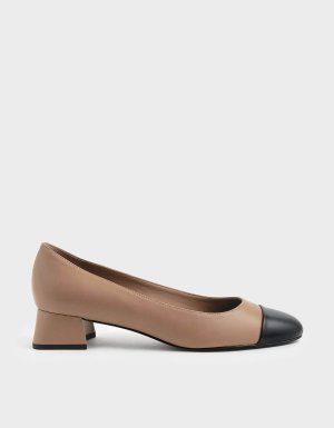Nude Two-Tone Round Toe Curved Block Heel Pumps | CHARLES & KEITH US