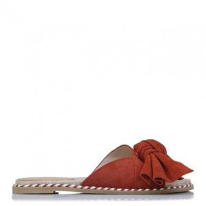 红色蝴蝶结平底凉拖鞋