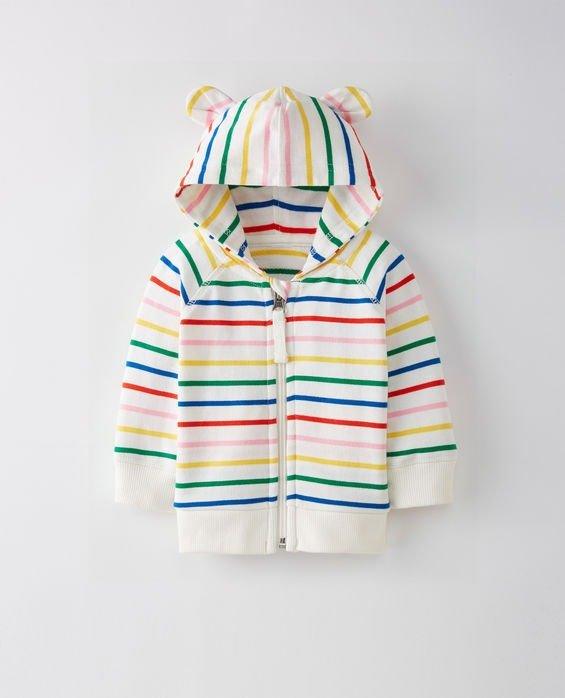 婴儿连帽彩色条纹外套