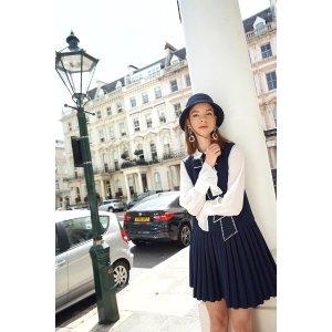 Miss LondonerHalf Pleated Tie Dress