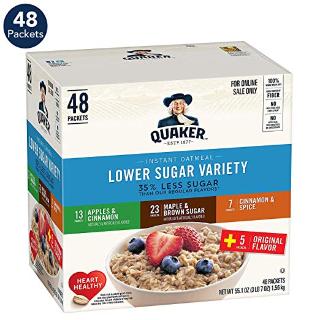 $8.36 轻松解决早餐闪购:Quaker 即食燕麦片 低糖 4种口味 48包