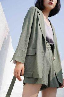 Linen Comfortable Fit Set Forest Green 棉麻慵懒西装套装 | 军绿色 – Niche Market