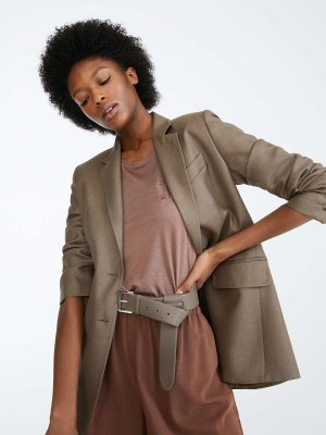 Camel and silk twill blazer