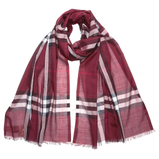 $218Dealmoon Exclusive: BURBERRY Lightweight Check Wool and Silk Scarf- Plum Check