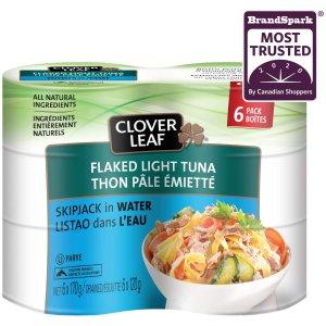 $7.02(原价$8.82)Clover Leaf 水浸金枪鱼罐头6罐 高蛋白野生金枪鱼