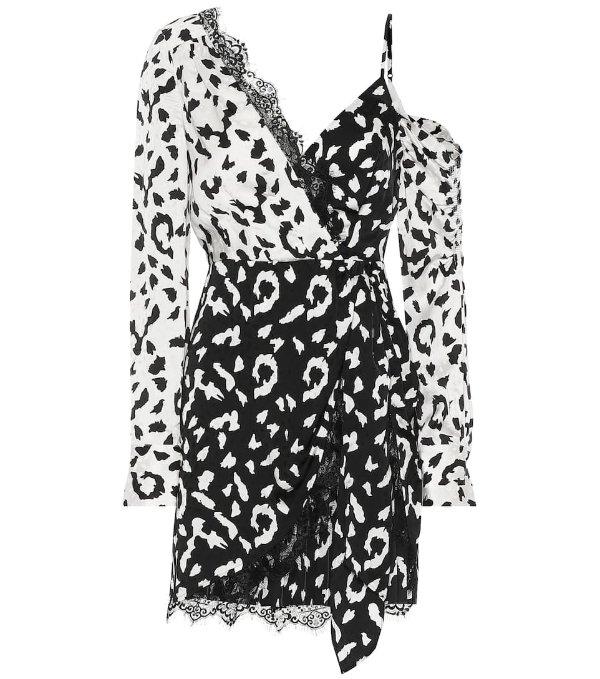 黑白拼接蕾丝连衣裙