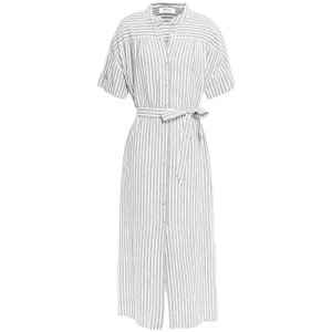 FRAMEStriped linen and cotton-blend midi dress