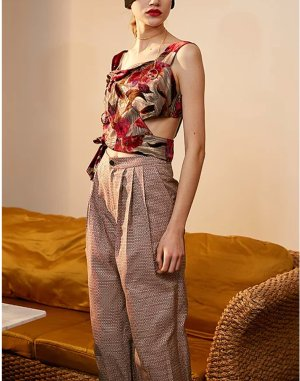 Rimless Red& White Puffy Bloomer Pant