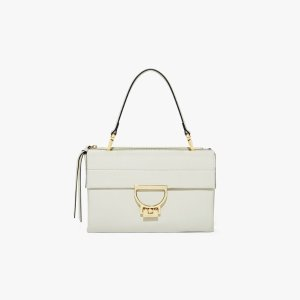 CoccinelleArlettis Medium in Chalk - Women's Shoulder Bag in Natural Grain Leather | Coccinelle