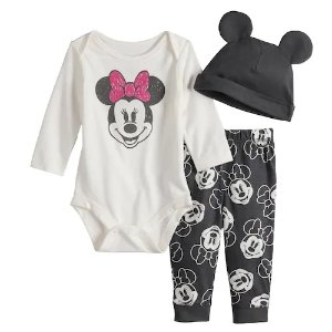 2b8141f87 DisneyMinnie Mouse Baby Girl Graphic Bodysuit, Print Pants & Hat Set by Jumping  Beans®