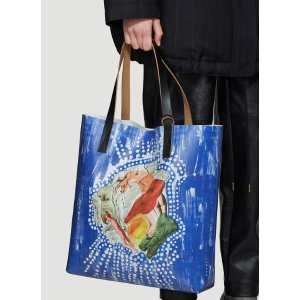 MarniEstia Print Shopping Bag in Blue