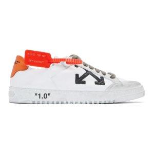 Off-White- White & Orange 2.0 Low Sneakers