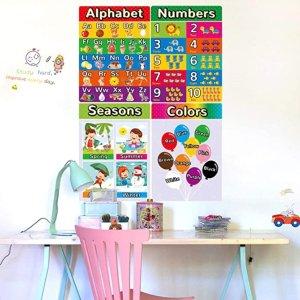 5折 $4.99起Back Sweet Home 儿童学习海报,有字母、数字、季节、颜色