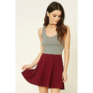 Stretch-Knit Flared Skirt