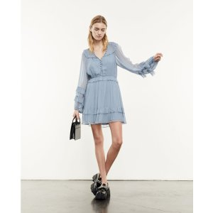The KooplesShort sky blue dress with floaty frills