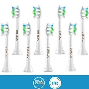 1958LLC Replacement Toothbrush Heads for Philips Sonicare e-Series HX-Series, Fits Sonicare Advance, Elite, Essence, Xtreme and More Snap-On Brush Handles, 8 Pack