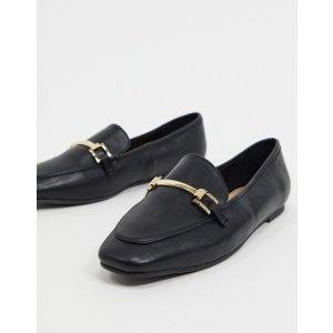 London Rebelmetal trim loafer in black