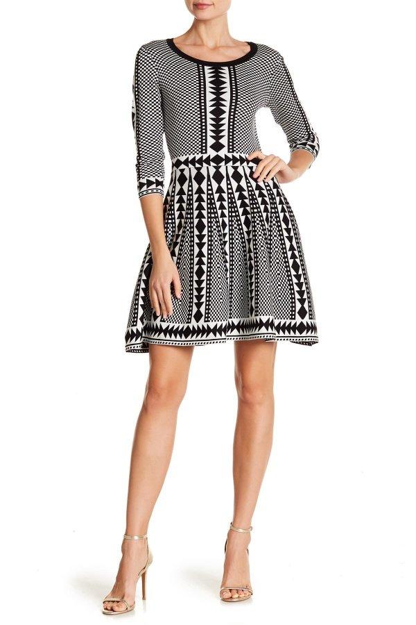 Geometric Print 毛衣裙