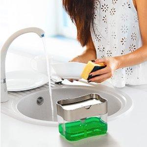 $8.98(原价$15) 包邮Schroeder & Tremayne 压泵洗碗精盒海绵架 二合一收纳