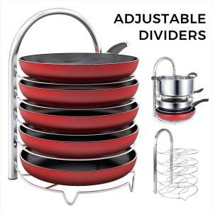 Lifewit Adjustable Pan Pot Organizer Rack