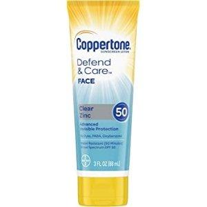 Coppertone Defend & Care Clear Zinc Sunscreen Face Lotion Broad Spectrum SPF 50