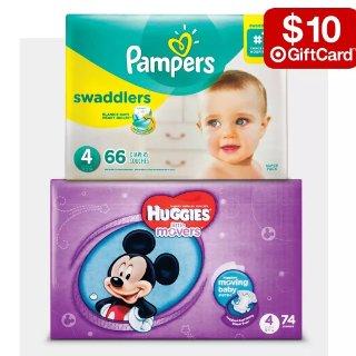 买2件送$10礼卡婴幼儿好奇、帮宝适多款配尿布特卖