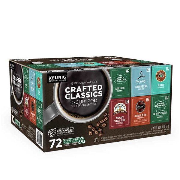 K-Cup 6种品牌混合口味咖啡胶囊72粒